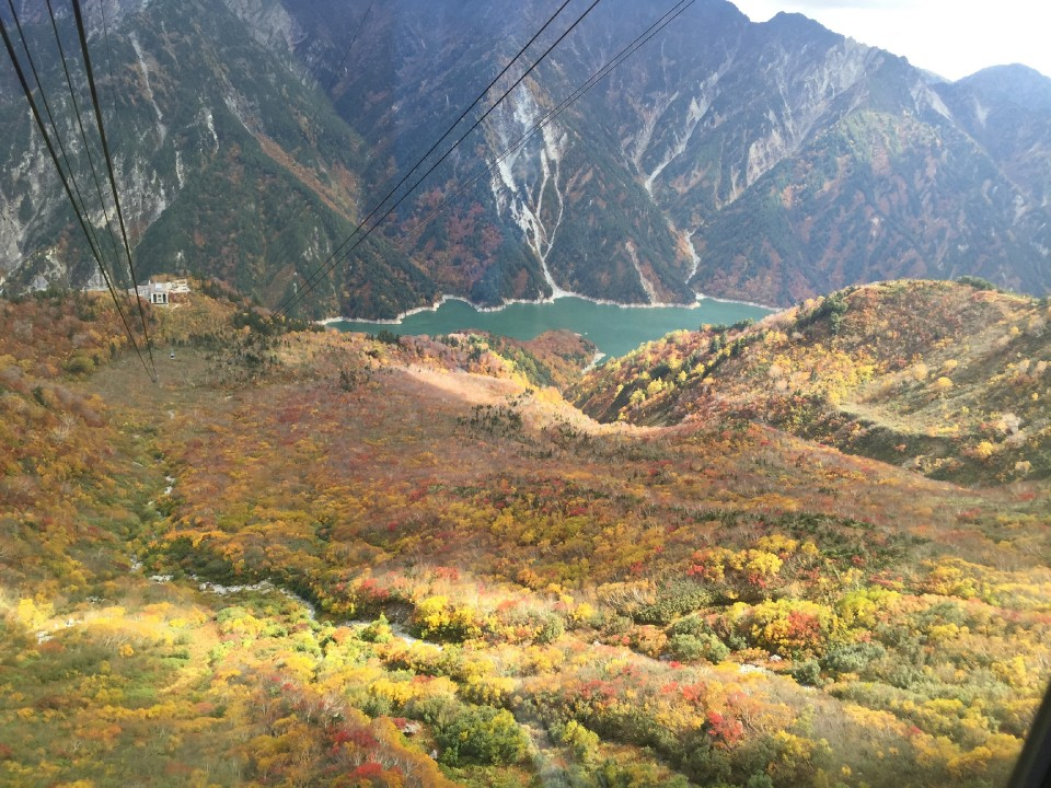 View of the lake and autumn colors from the ropeway