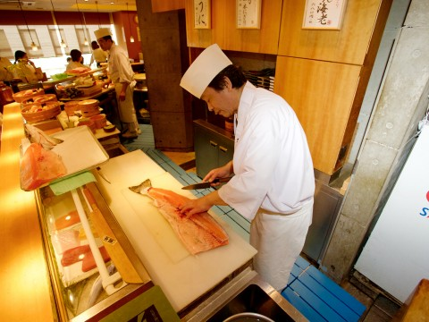 In front of the sushi board images