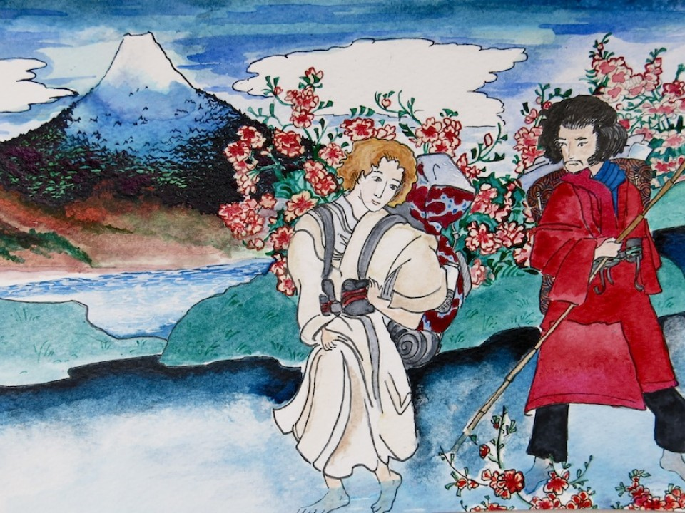 Watercolor of ourselves in Japan
