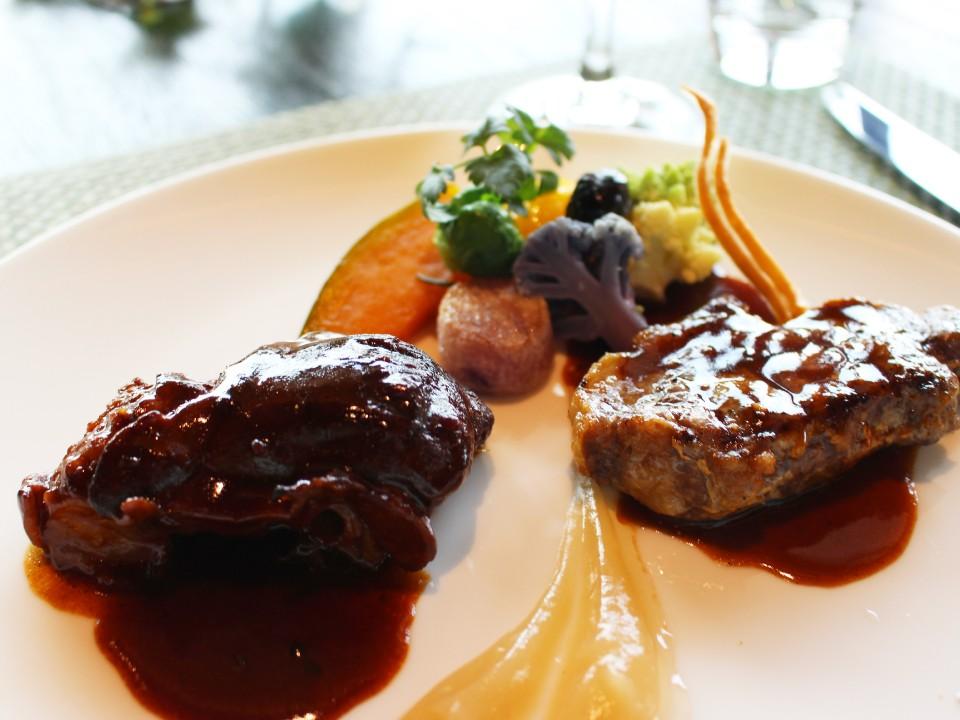 Wild boar meat served two ways