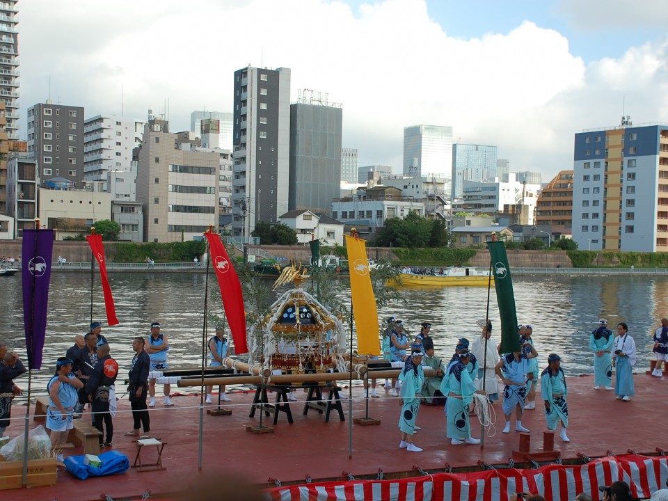 Mikoshi on Sumida River