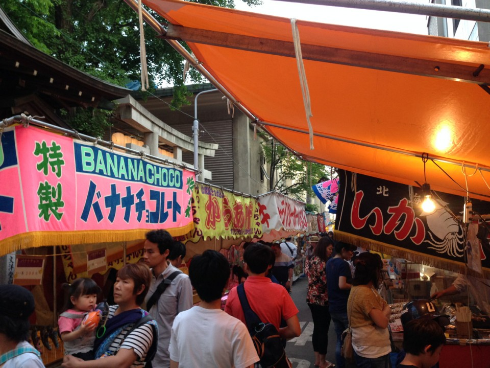 Yatai street near a shrine