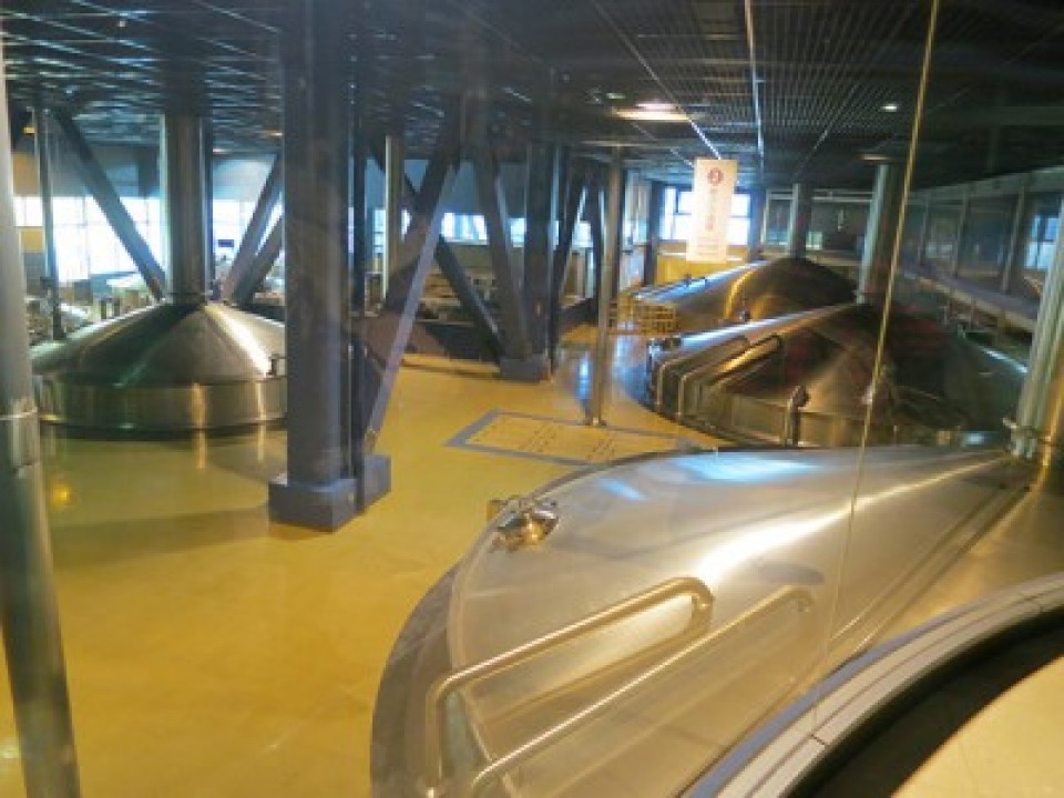 On the other side of the glass is a row of eight preparation tanks, of about 12m in diameter.