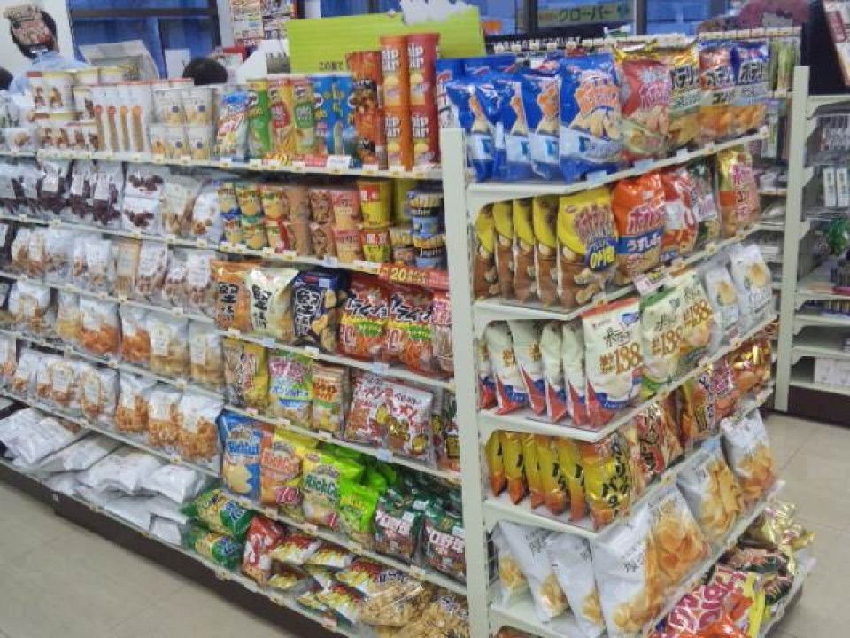 Many snacks at a convenience store