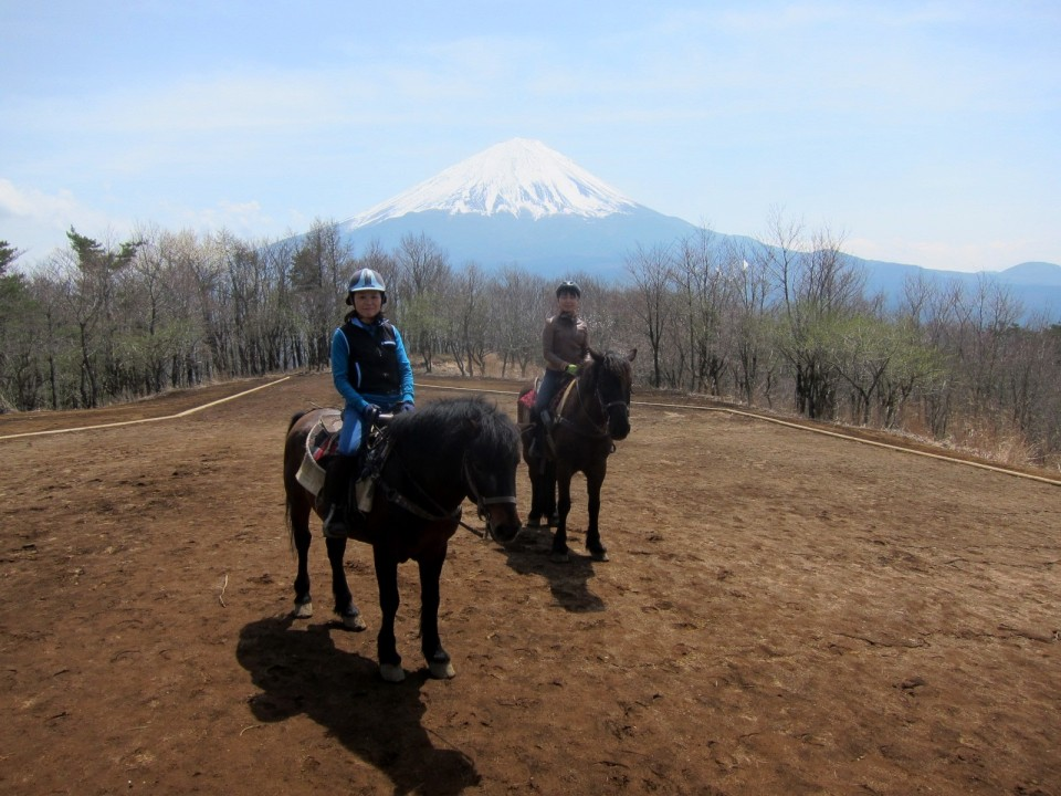 at the top of the hill, great view of Mt Fuji and the lakes