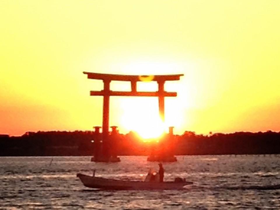 Lake Hamana, the sun set