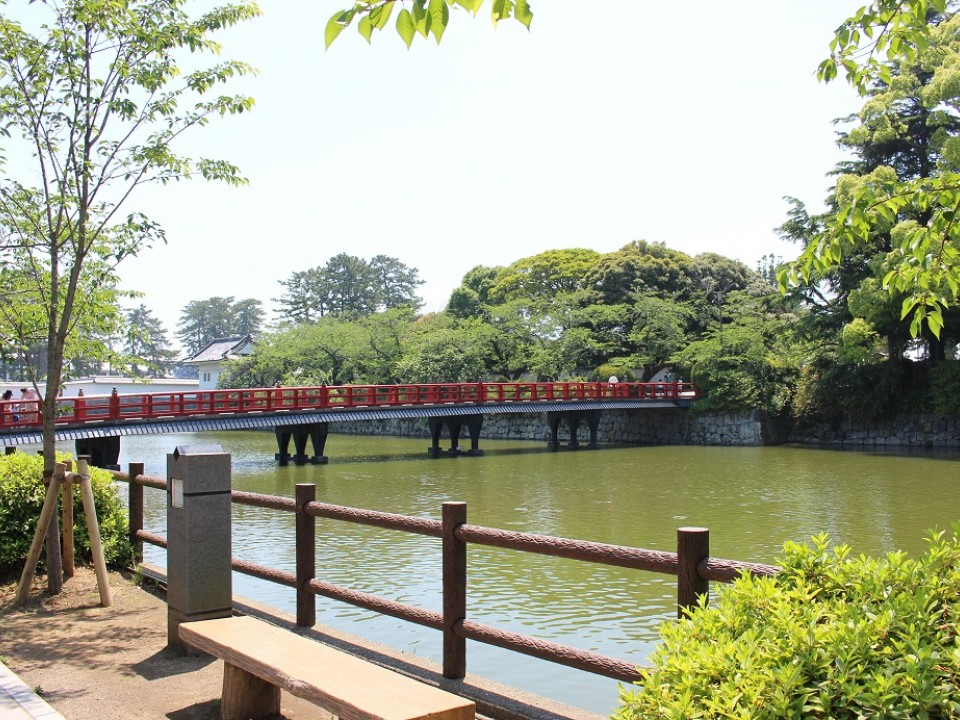 Red Bridge leading across the moat