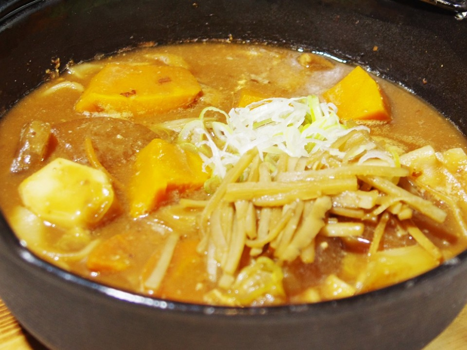Hoto noodles with pumpkin.
