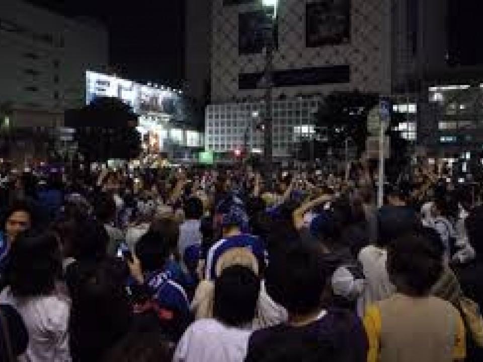 Fans in Shibuya