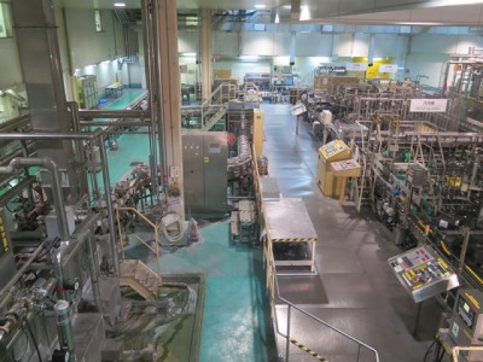 You can see the cans, bottles, barrel-filling, and the actual factory line.