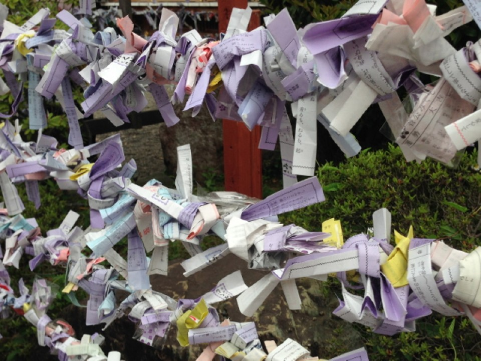 Unlucky omikuji left behind at Kameido Tenjin