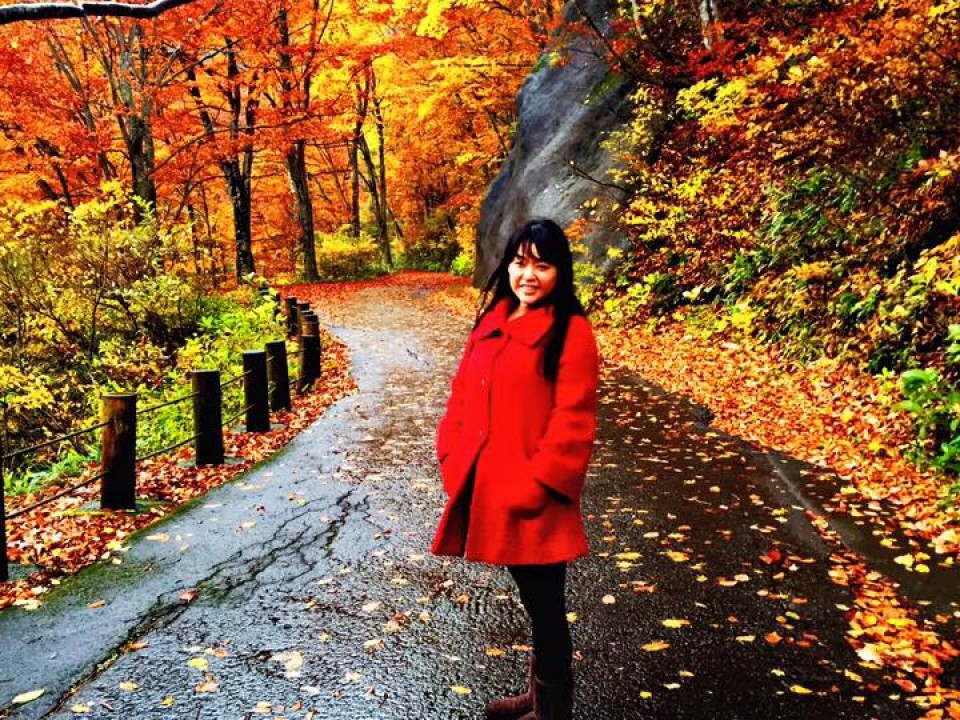 Little Red Riding Hood in the ever changing leaves...