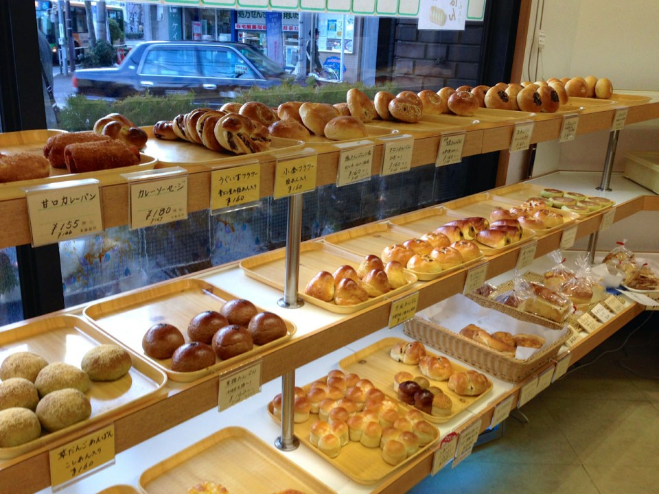 big selection of Anpan and Japanese breads
