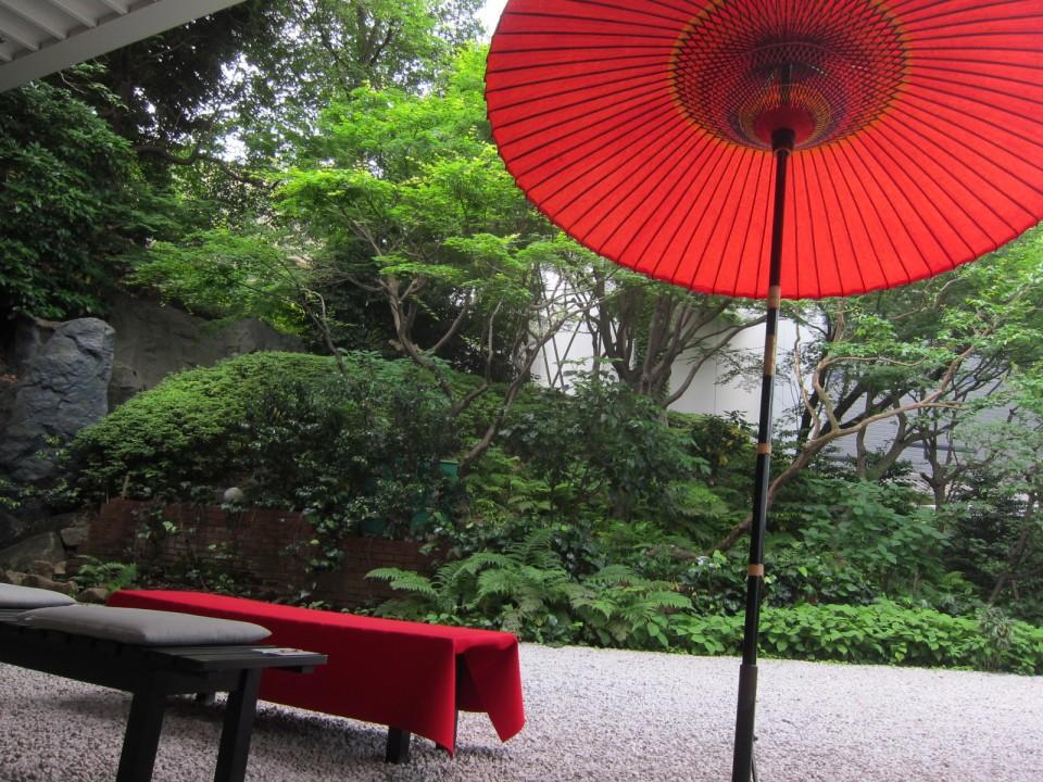 garden with Japanese umbrella
