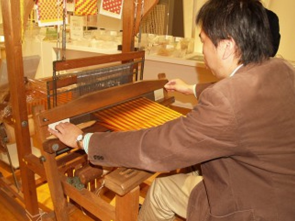 Visitors are free to try out the handloom at any time