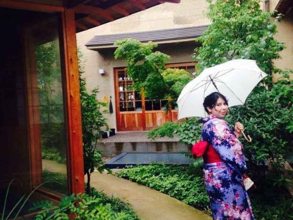 Exploring a garden in summer yukata
