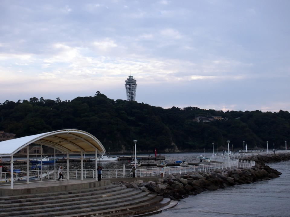 A view of Enoshima Island from the aquarium