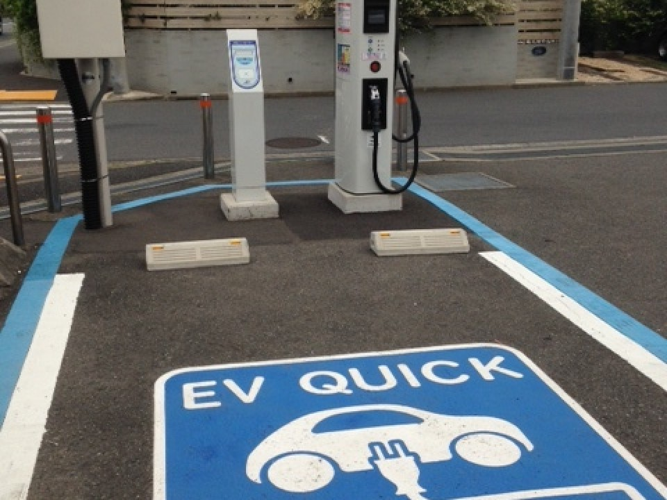 An EV charging station in Yokohama