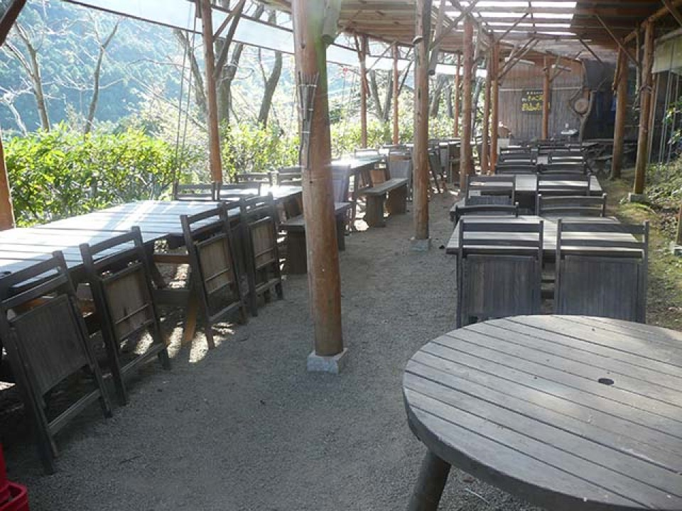 The seating with the lean-to roof built in the location having the best view, for use by large groups of visitors