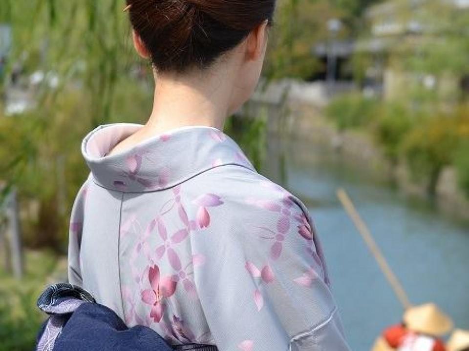Elegant hairstyle, silk kimono & denim obi