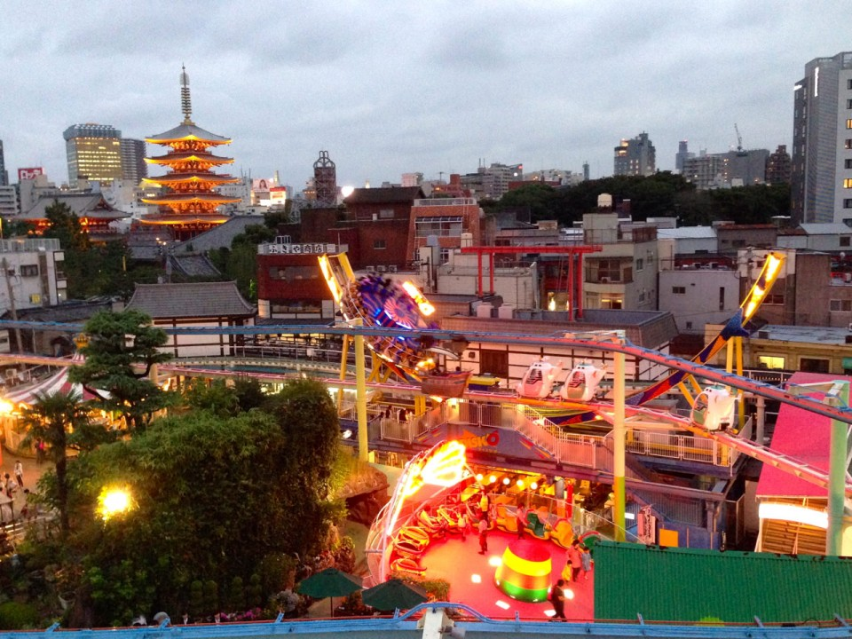 Hanayashiki rides & Senso-ji's pagoda
