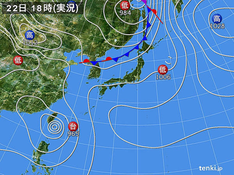 A typical weather map with a typhoon near Taiwan