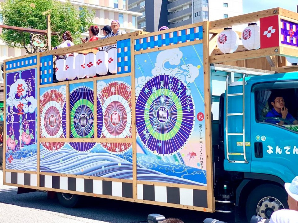 The colorful trucks that boombox the music for each dance group