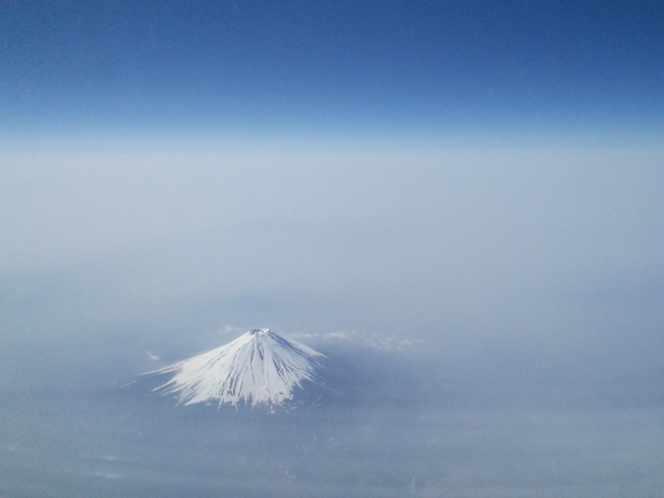 Jetliner's eye view of Mt. Fuji