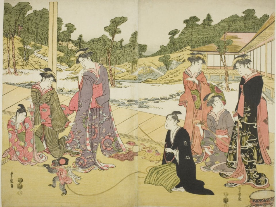 Utagawa Toyokuni Japanese, 1769-1825 The Young Monkey Showman (Wakashu sarumawashi)