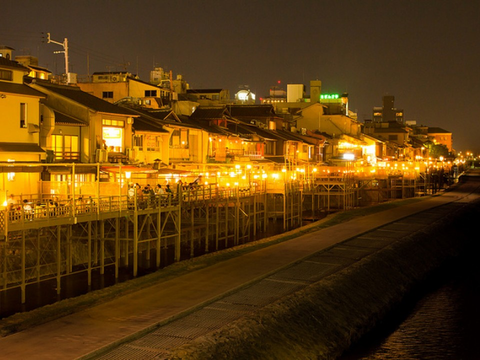 Kyoto riverside terraces