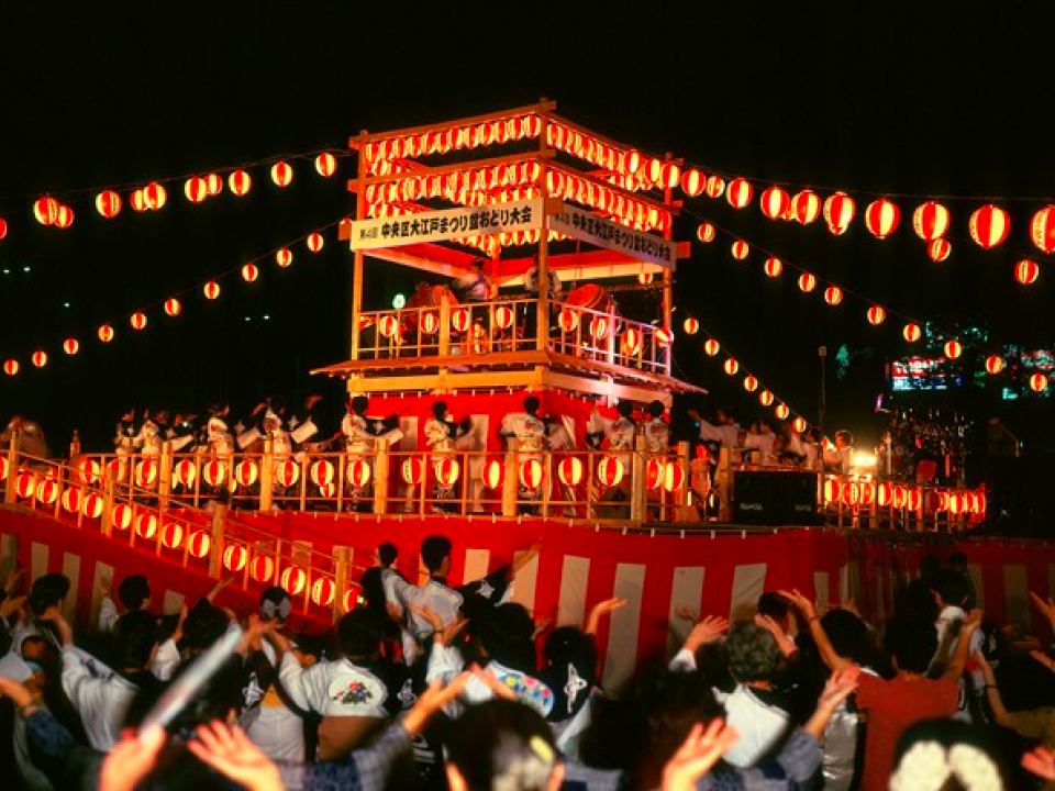 A scene from one of the many Obon festivals held in mid-August