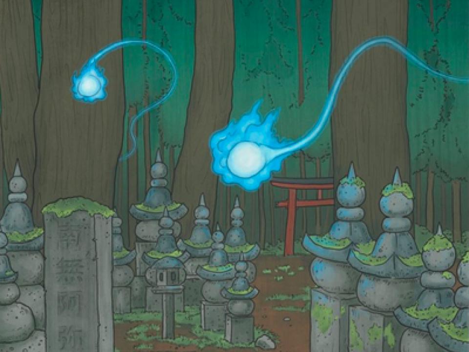 Hitodama at a graveyard