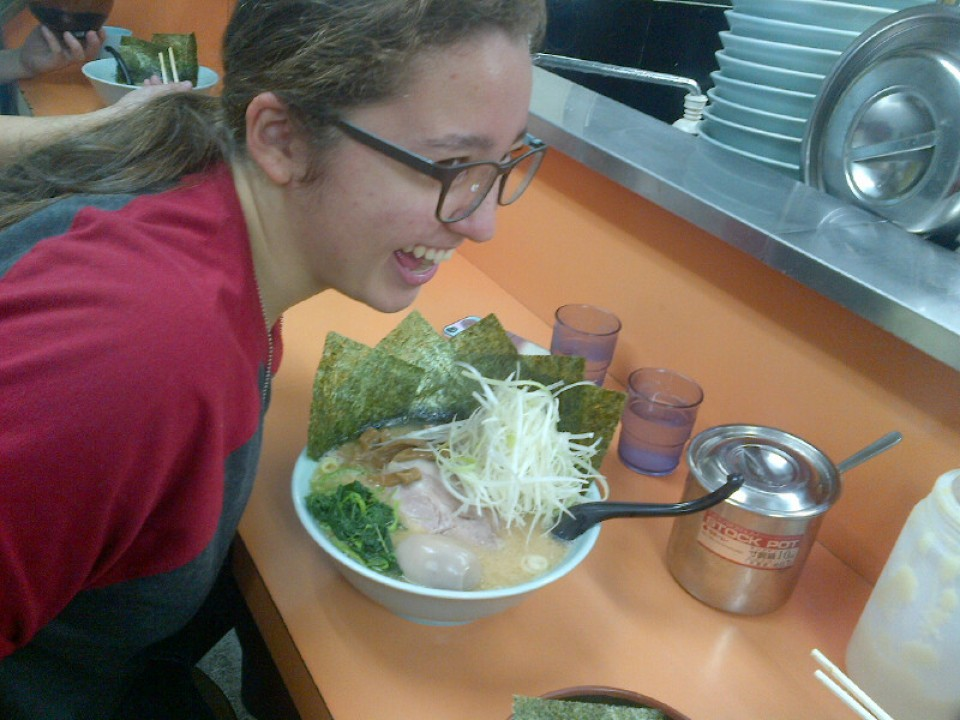 Getting ready to eat Jumbo Ramen with a beautiful onsen egg on top!