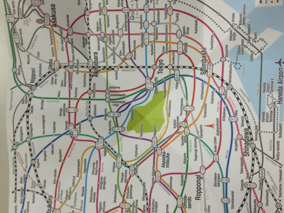 (attached is a Tokyo subway map - the different colors signify different train lines)