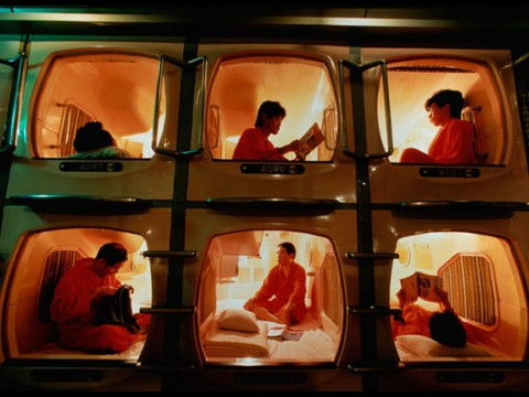 You should enjoy staying at a Tube Hotel called a Capsule Room Hotel!!! images
