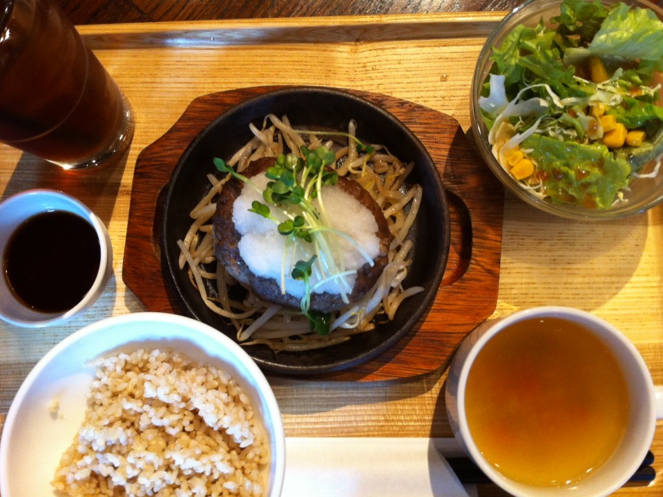 My meal yesterday with daikon and ponzu! Daikon is the snowy thing!