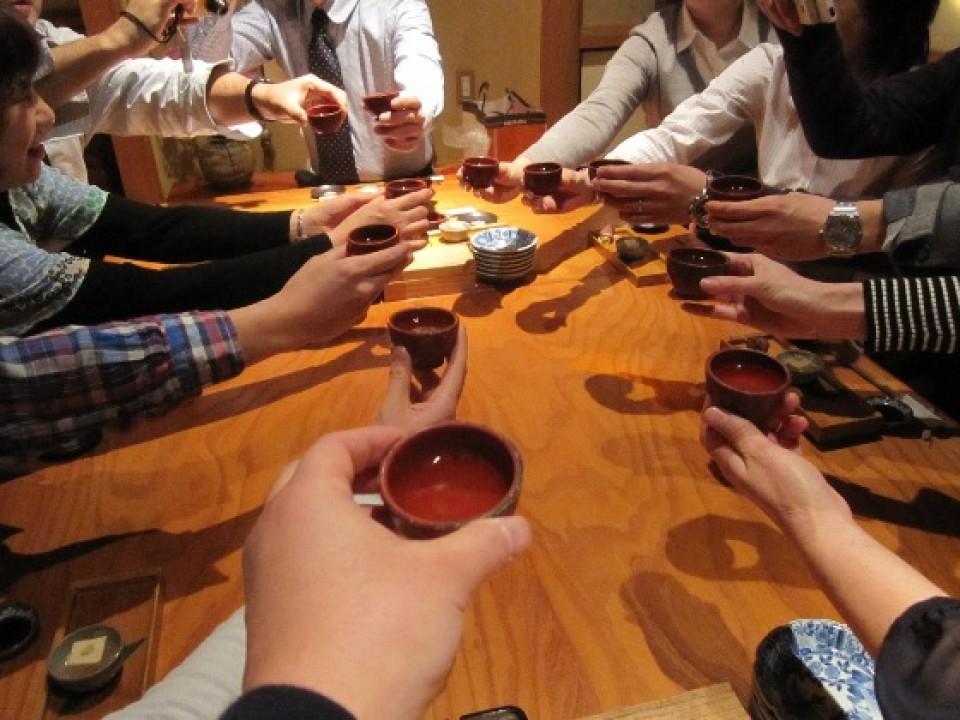 """""""乾杯(Kanpai)"""" """"お疲れ様(Otsukare-sama)"""""""