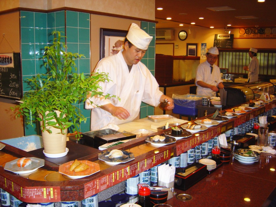 Sushi Master at a Kaiten Zushi Restaurant