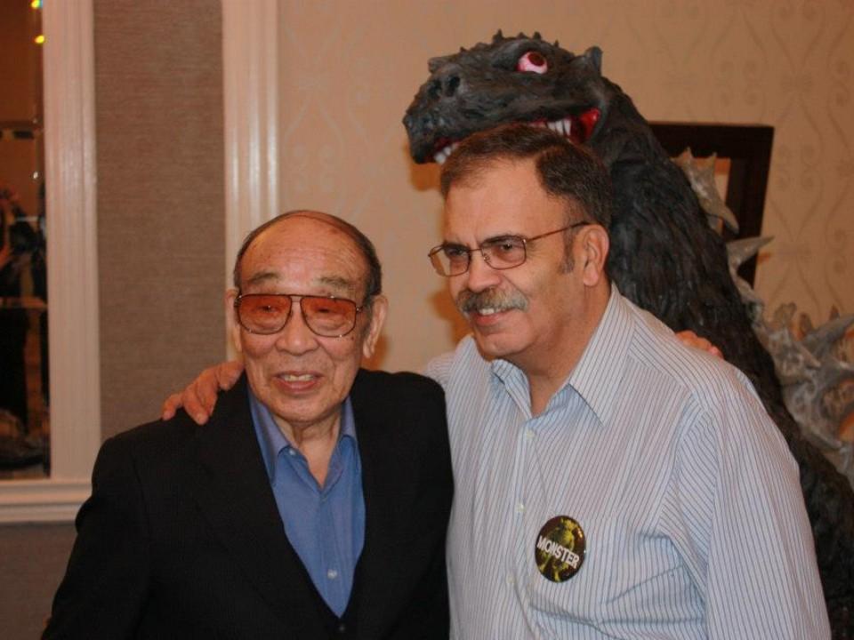 The original Godzilla, Haruo Nakajima and Armand in 2013.