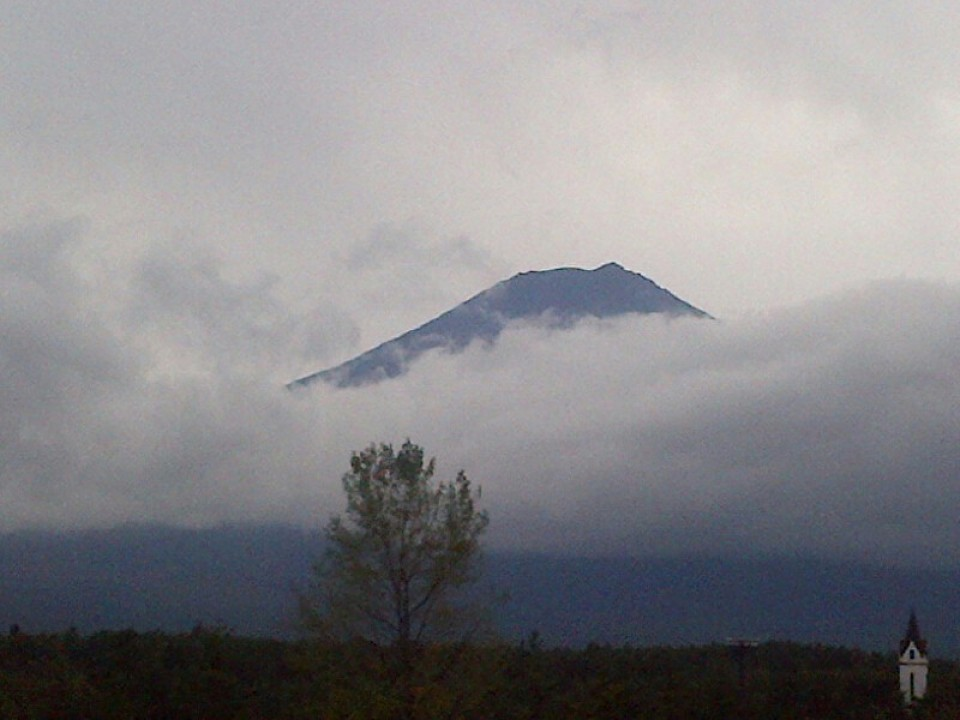 View of Mt. Fuji from the hotel. Cloudy day does not dim the beauty and majesty at all!