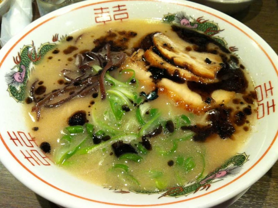 Tonkotsu ramen with black sesame oil