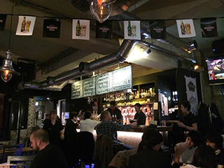 The main bar inside Two Dogs Taproom.