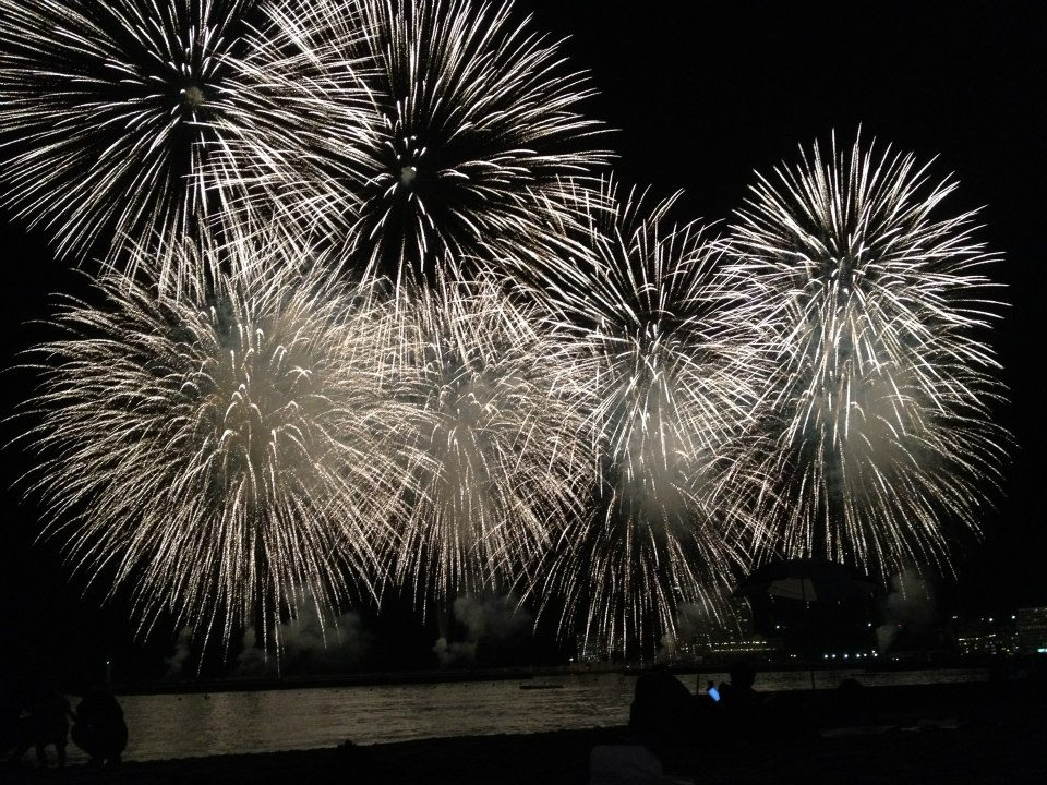 Fireworks While Lying on Atami Sun Beach